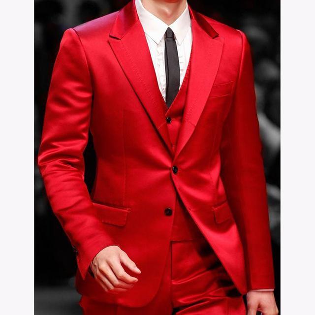 bc02613e672f9 Acheter Beau Costume Rouge Hommes Costumes De Bal 2018 Costume Homme Mariage  Costume Blazer De Mariage Garçon D'honneur Veste + Pantalon + Gilet +  Cravate ...