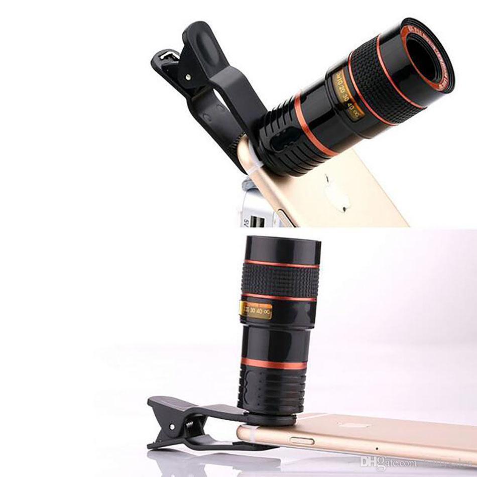 Handy-Kamera-Telekot-Telekope 8x 12x Telecope-Objektiv Hochklarer Kamera-Fotogerät Optische Mobiltelefonlinse mit Clip für Mobilephone