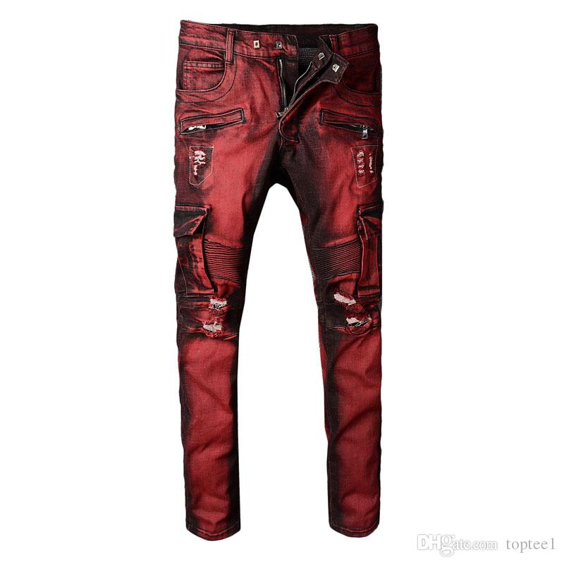 New Arrived Men Light Blue Biker Jeans Denim Ripped Holes Slim ... 39b1b5f1f0