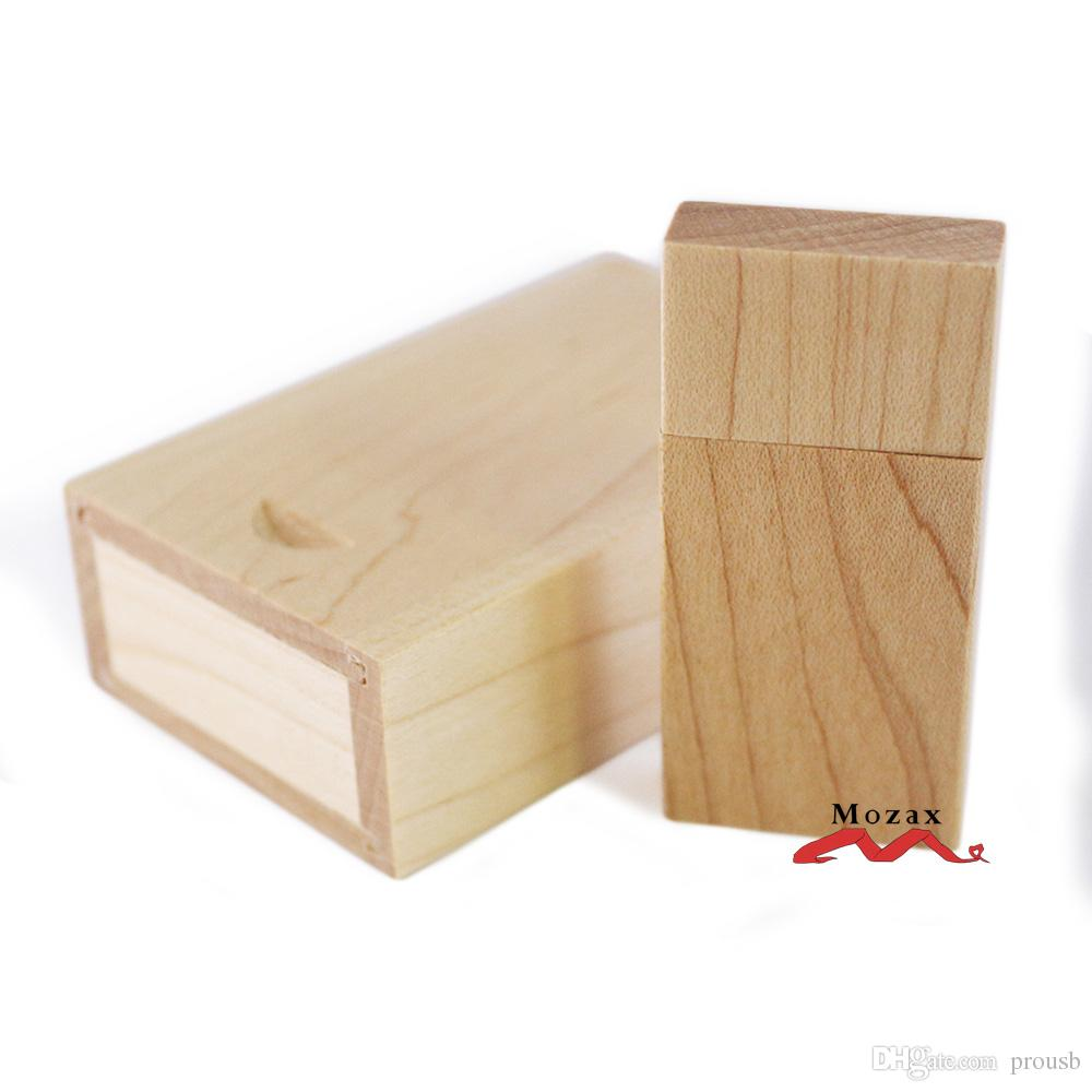 1GB 2G 4GIGA 8GB 16GB Wood Memory Flash USB Drives 2.0 True Storage Wooden Pendrives Sticks + Case Suit for Customize Logo