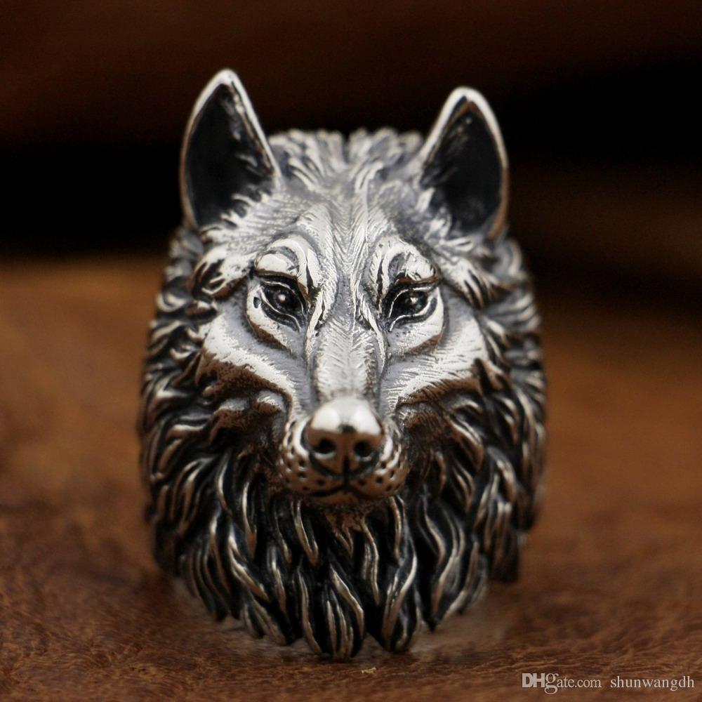 LINSION 925 Sterling Silver Wolf Ring Handmade Huge Heavy Mens Biker Punk Ring TA90