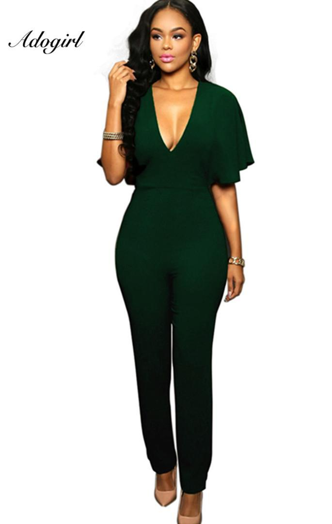 973c90366e6 2019 Adogirl Women Frill Cap Sleeve Open Backless Jumpsuit V Neck Short  Sleeve Bodycon Bodysuit Lady One Piece Playsuit Overalls From Lucu