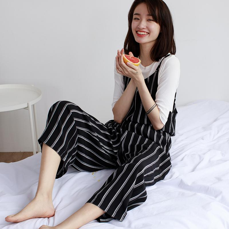 a0b3fc076b5 2019 EGGKA 2018 Spring Summer High Waist Jumpsuits Women Casual Loose Slim  Lace Up Striped Korean Wide Leg Ankle Length Pants Trouser From Dreamcloth