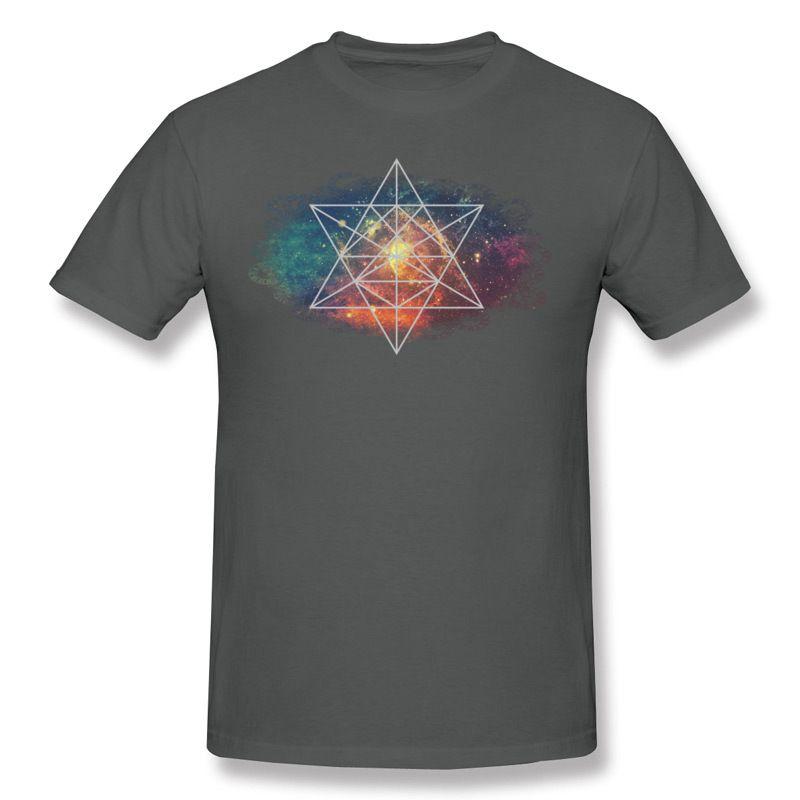 High Quality Men's 100% Cotton Geometric Space Tee-Shirts Men's Round Collar Gray Tshirt Tops Camisetas Big Size Leisure Tee-Shirts