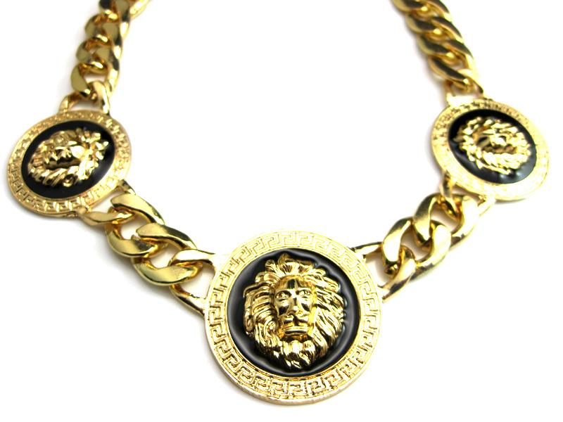 93bf8e7475d590 3 Lion Head Statement Necklace with Twisted Link chain Chunky Necklace New  Celebrity Style Vintage Jewelry for Men's free shipping