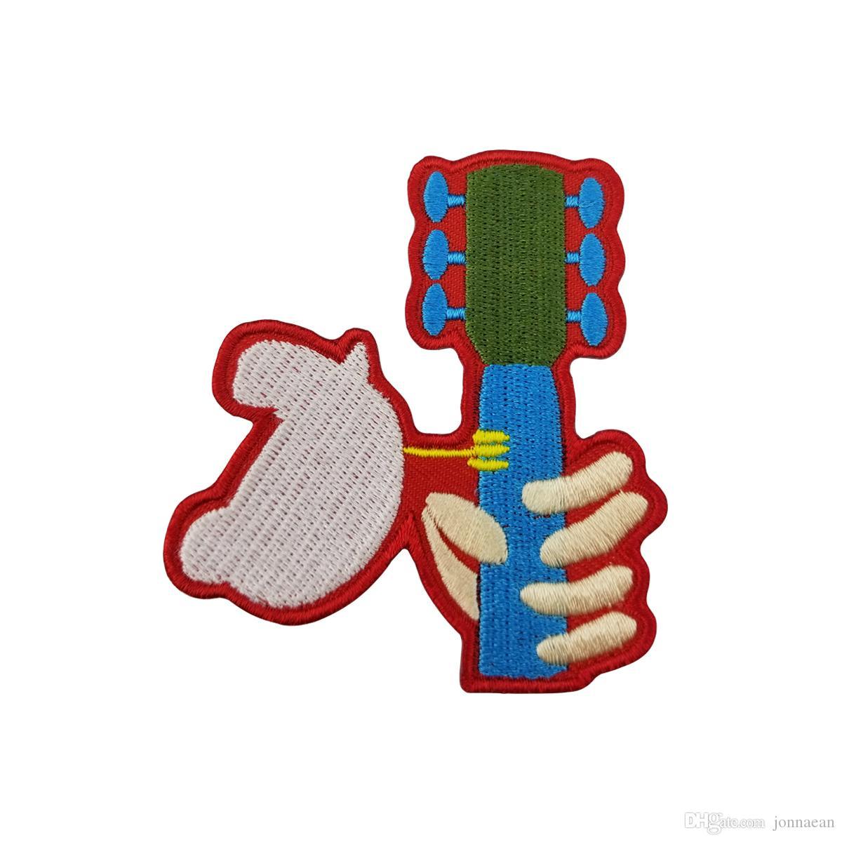 Belo Woodstock Music Festival Dove Guitarra Rocking Bordado Remendo de Ferro Sobre ou Costurar Em Roupas Atacado Frete Grátis