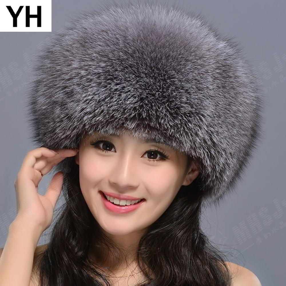 fc8cd0d2950 2019 2018 Hot Natural Real Fox Fur Hat Winter Women 100% Real Fox Fur Cap  Quality Russia Caps Bomber Hats From Duweiha