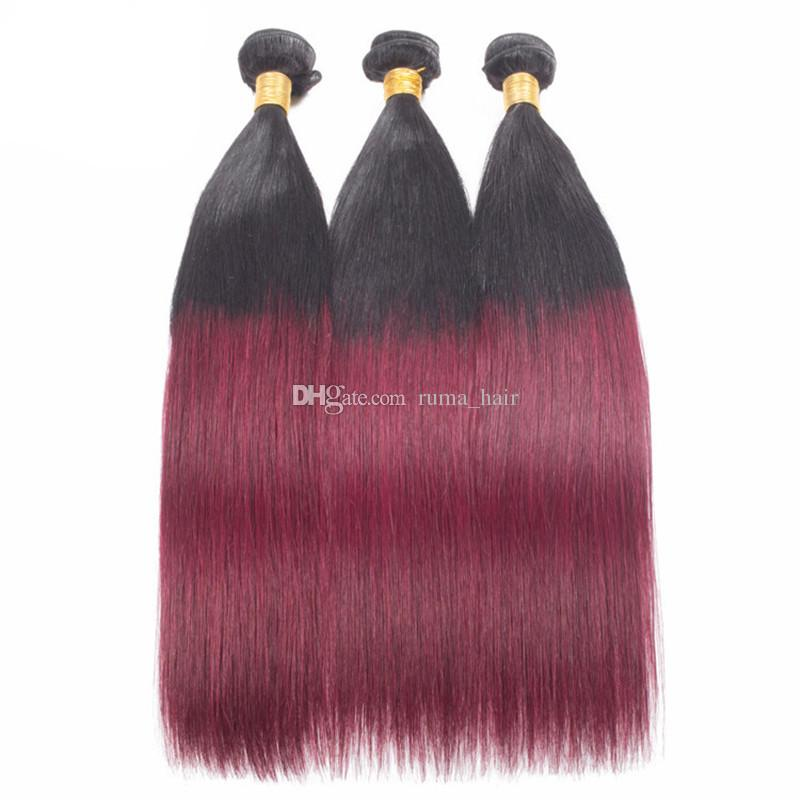 Human Hair Bundles With Silk Base Closure Straight 8A Grade Unprocessed Malaysian Virgin Hair Weaves With 99j Silk Lace Closure 4*4 inch