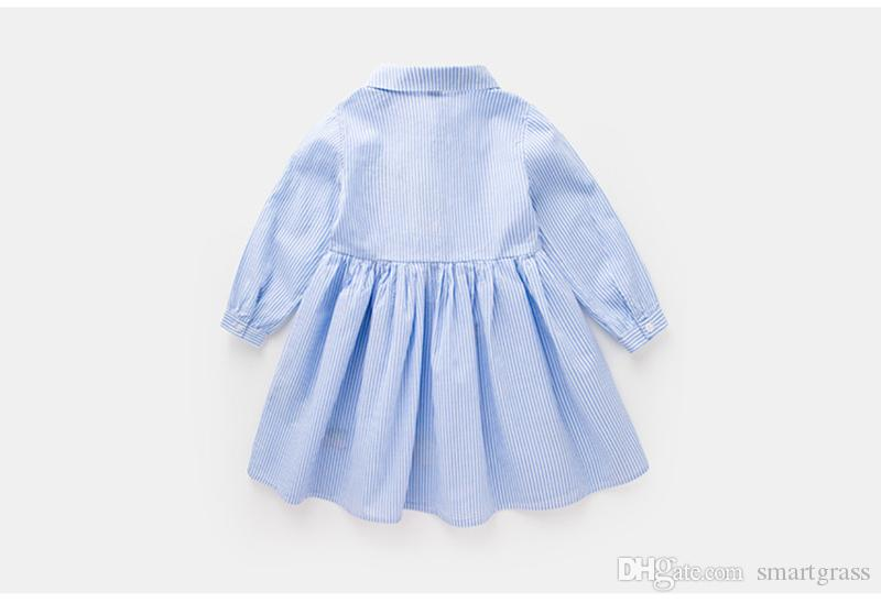 Striped Baby Girls Dresses Online New Fashion Shirt Dress Cottom Cute Long Sleeve Dress 18081701