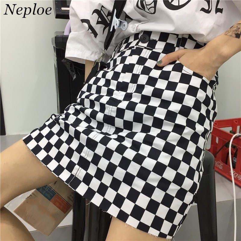 9e25eb684 Neploe Falda a cuadros en negro blanco Cintura alta Falda mujer Faldas  Harajuku streetwear Mini Faldas en verano coreano INS 36080
