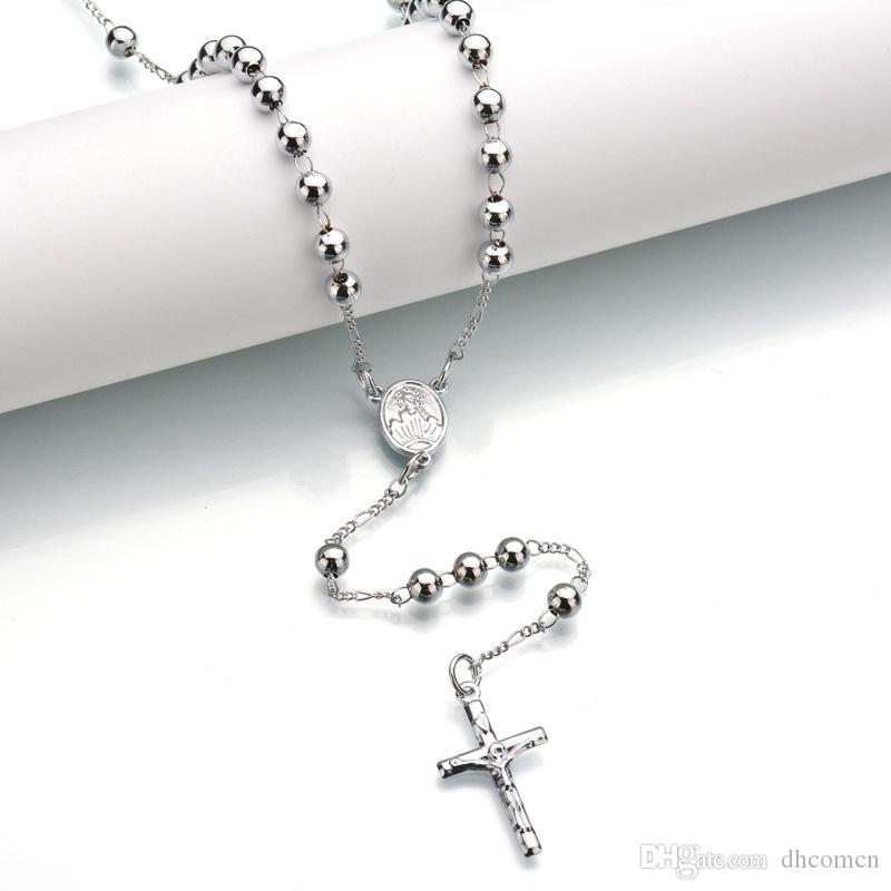 Jesus Cross Pingente Colar Jesus Beads Colar Hip Hop Jóias para Homens Mulheres 62cm Frete Grátis