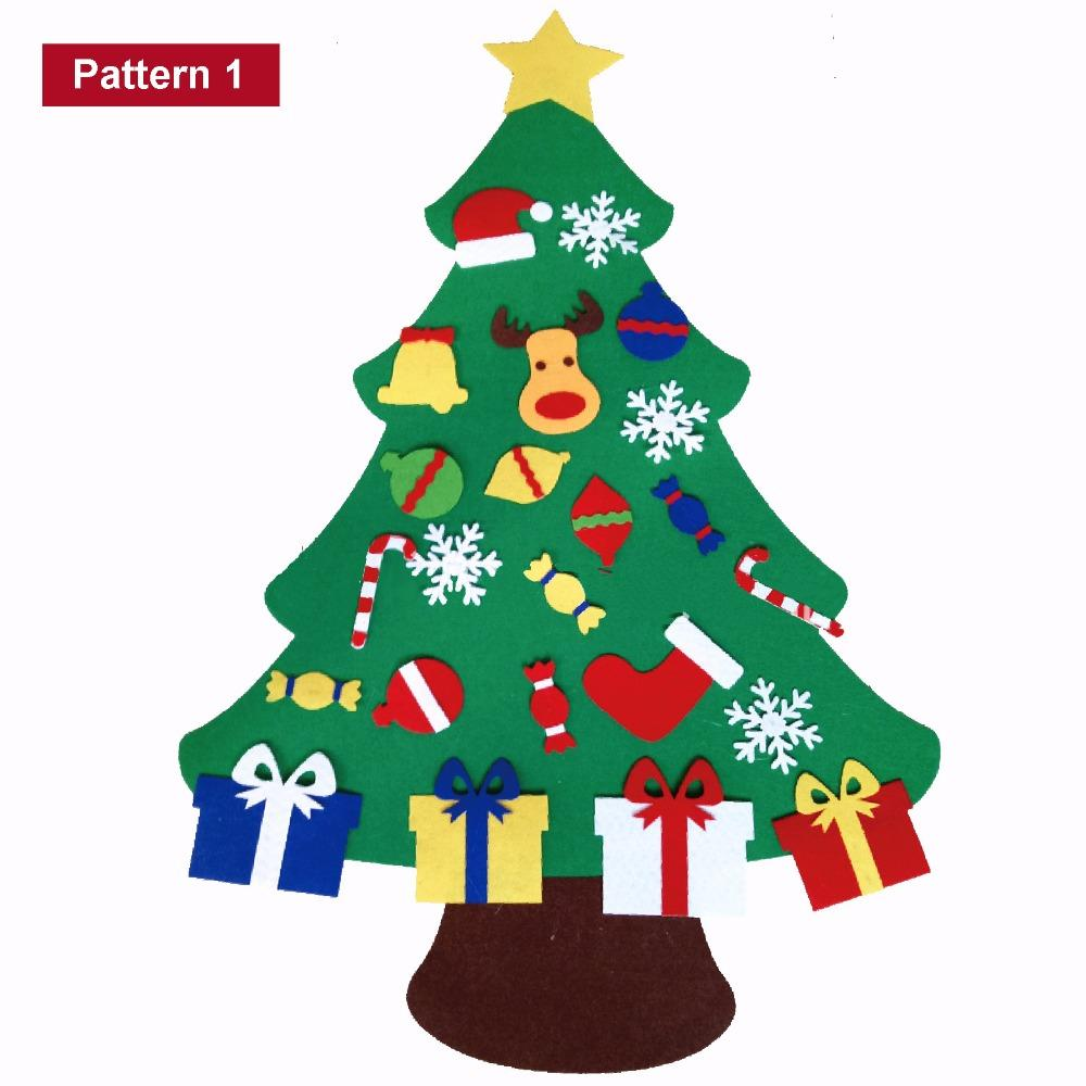 2018 2017 new kids diy felt christmas tree set with ornaments children gift toddler door wall hanging preschool craft xmas decoration from roohua