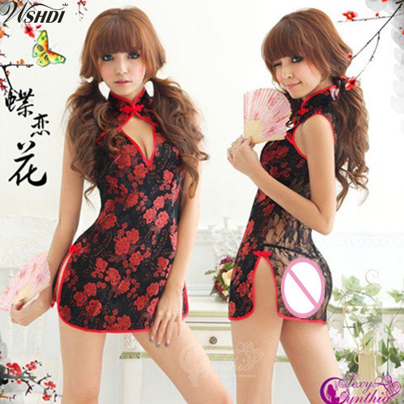e9c757d58 2019 Black Lace Transparent Sexy Lingerie Mandarin Collar Cheongsam Chinese  Traditional Print Qipao Flower Short Dress From Dalivid, $26.5 | DHgate.Com