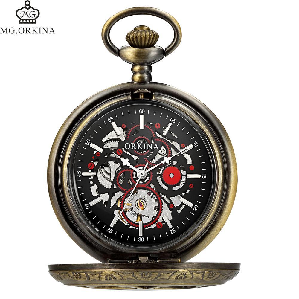 a893da00f Old Antique Pocket Watches Men Hollow Mechanical Steampunk Fob Watch Luxury  Top Brand ORKINA Vintage Pocket Watch Pendant Clocks Watches Online Gold  Watches ...