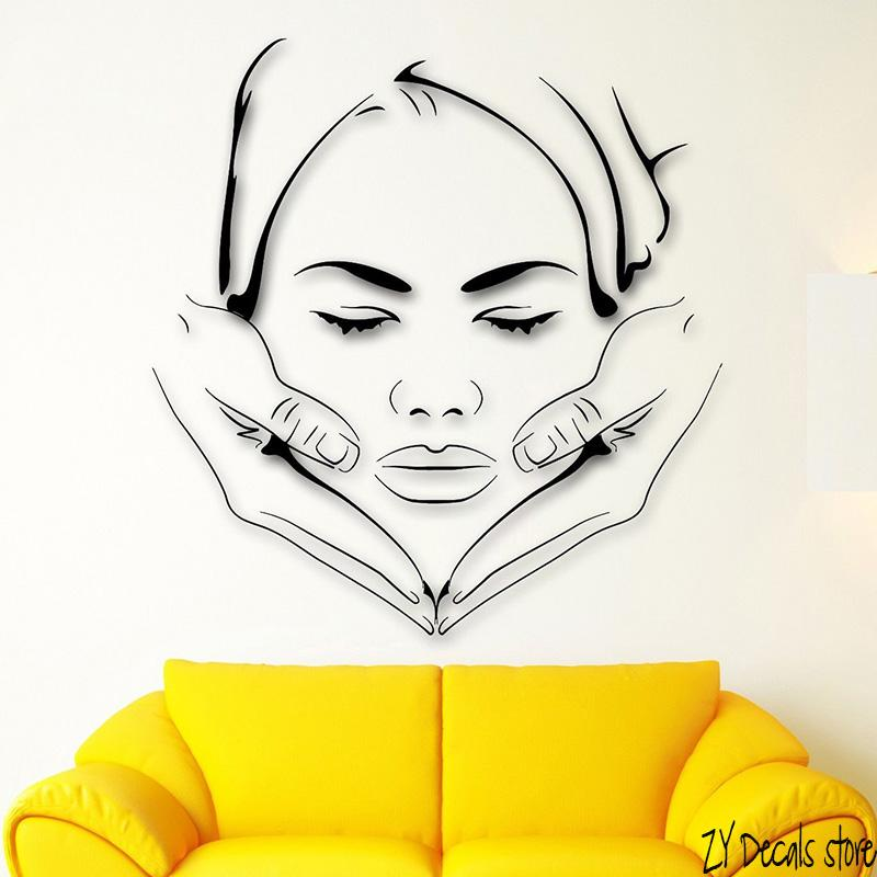 Massage Spa Wall Decals Face Makeup Wall Sticker Sexy Girl Beauty Salon Art Mural Removable Home Decoraiton Decor L376