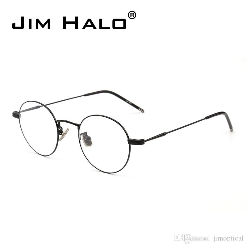 2018 JIM HALO High Quality Round Wire Rim Glasses Circle Frame Clear ...