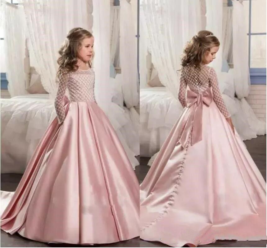 compre 2018 rosa para niñas primera comunión vestidos de manga larga