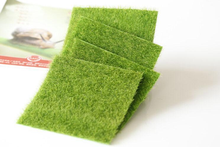 hierba artificial césped 15 * 15 cm 30 * 30 cm jardín de hadas miniatura gnome musgo terrario decoración artesanías resina bonsai decoración del hogar para DIY Zakka