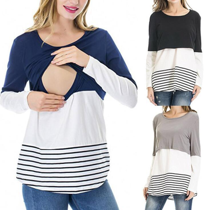 cfe6eaf9ac060 Maternity Long Sleeve Nursing Tops T Shirt Striped Breastfeeding Lace  Patchwork Casual Top Undershirt Clothes OOA5906 Trendy T Shirts For Men  Shirts Funny ...