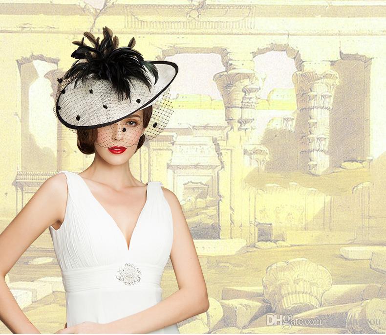 Урожай Леди Черная и Слоновая Кость Шляпа Идеальный Птичья Клетка Головной Убор Фата Перо Свадебные Аксессуары Для Свадьбы Женщины Невесты Fascinator Hat