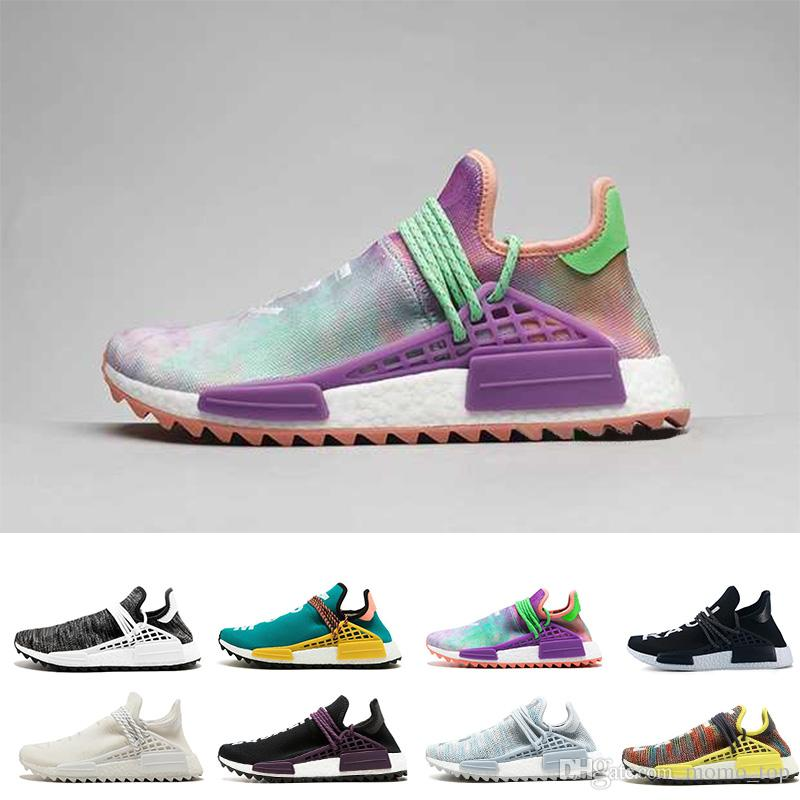c38c0e9e3 2018 Pharrell Williams HUMAN RACE In Yellow Red Black Blue Grey Green White  Men Women Classic Sport Sneakers Running Shoes Eur 36 47 Best Shoes For  Running ...