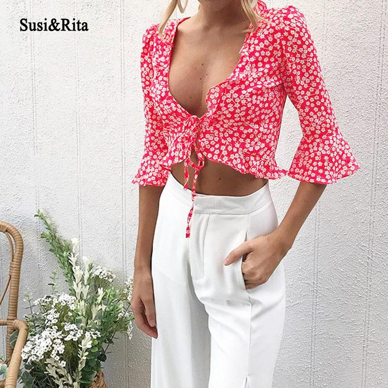 ad6262fb3560ec 2019 Susi Rita Summer Ruffle Chiffon Blouse Women 2018 Boho Lace Up Crop  Tops Floral Print Sexy Tops Vintage Blouses Femme Blusas From Cyril03