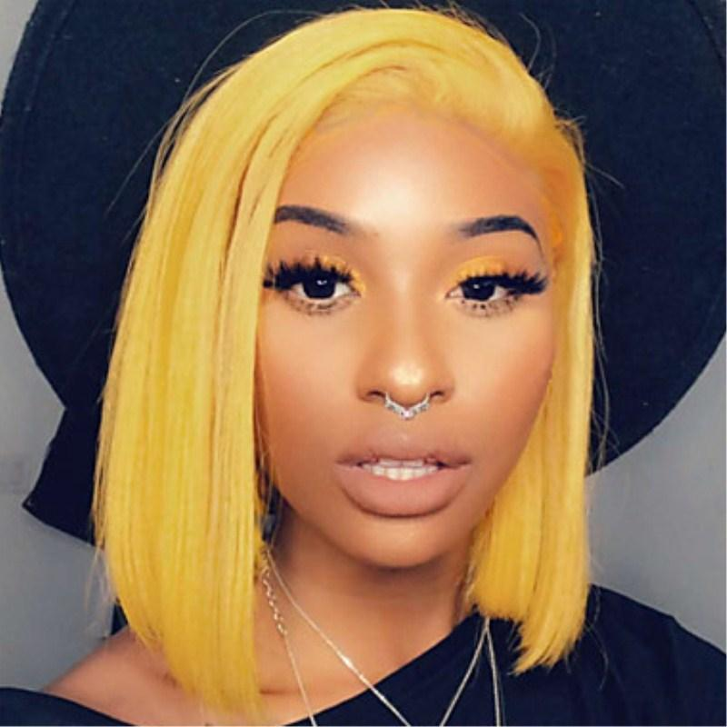 Free Part Straight Yellow Short Bob Wig Synthetic