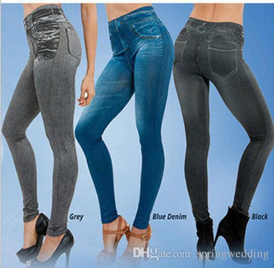 091708d151ed59 Wholesale- Jeggings Stretchy Slim Leggings NEW Sexy Women Lady Jean ...