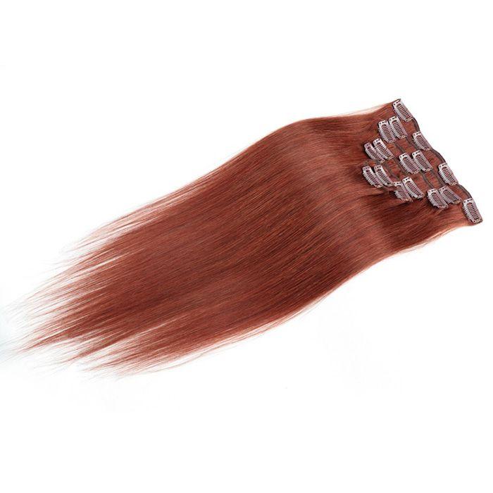 Grampo de 10inch-24inch nas extensões do cabelo humano em linha reta 100g # 33 castanho-aloirado escuro