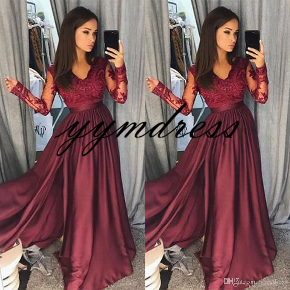 e165baf7655 Hot Burgundy Prom Dresses 2018 Sheer Vintage Long Sleeves A Line V Neck Lace  Side Split Formal Evening Party Wear Pageant Gowns Arabic Prom Dress With  ...