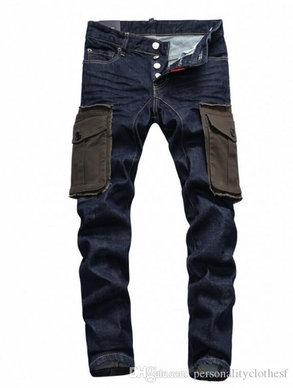2018 europe and the united states fashion new trend big pocket men's jeans washed hand-painted folds washed low-waisted feet trousers pocket