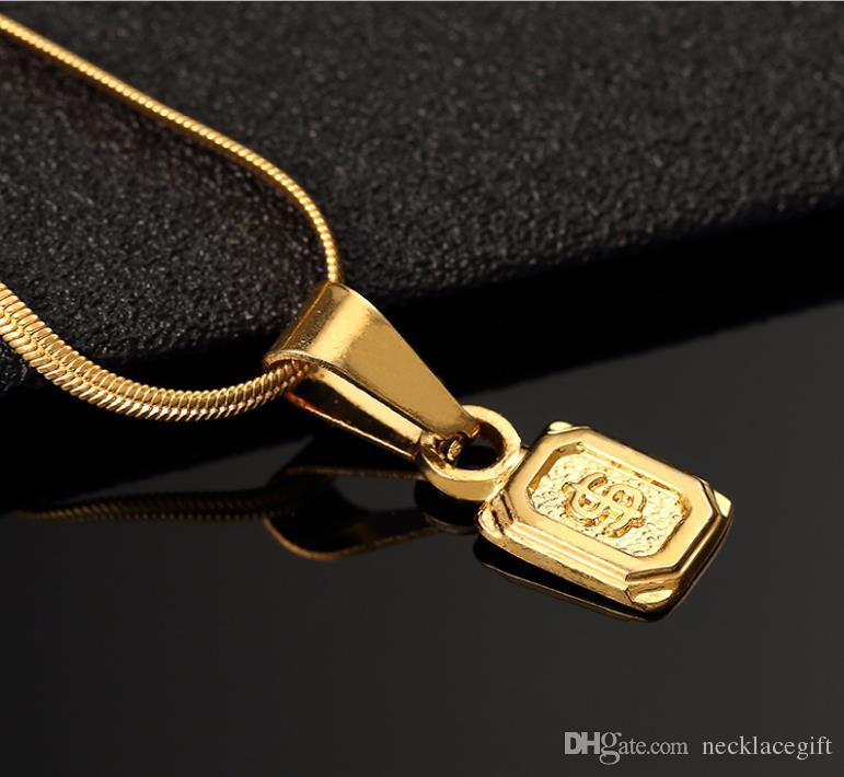 Mezcla al por menor Cube Bar Bullion Collar Colgante Venta Hip Hop Bate de béisbol Collar de pistola Colgante ORO Hoja de plata Hiphop Cadenas largas Collares