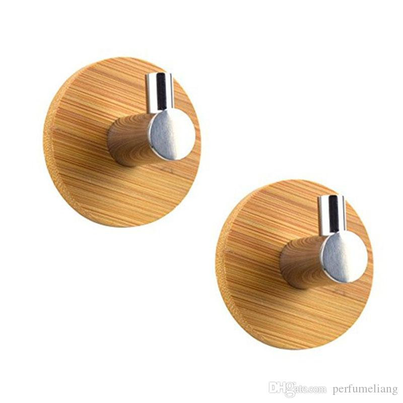L Shaped Adhesive Hooks Bamboo Wood & Stainless Steel Wall Hangers For Clothes Towel Holder For Home ZA6638