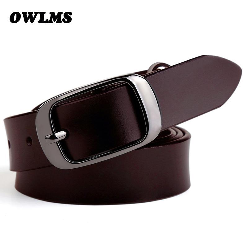 8b2bc1eaa249b Compre Nuevos Cinturones Para Mujer Cinto Jean De Lujo Cinta Ceinture Femme  Cinturones Mujer Cinturón De Cuero Genuino Cintos Piel De Vaca Negro  Hebilla Pin ...
