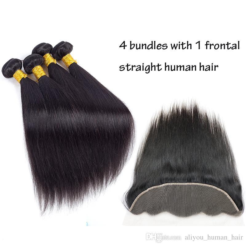 Cheveux péruviens Vague de Corps Droite Frontale avec Faisceaux Vague de Corps Vierge Brésilienne Armure de Cheveux Humains 4 Faisceaux