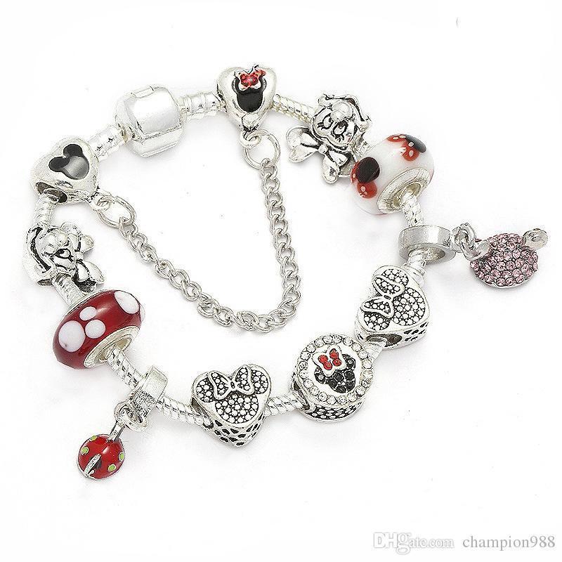 fb51e7bfe261 Charm Bracelet 925 Pulseras Pandora de Plata Para Mujeres Pulsera Real  Granos de cristal rojo Diy JewelrFashion European Charm BeadsF
