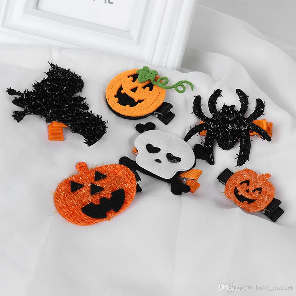 halloween hair bows with ribbon covered clips for kids girls fashion