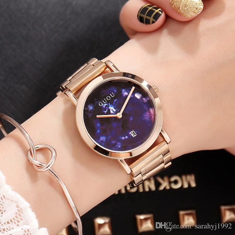 8723b995827d Compre Relojes Guou Nuevo Reloj De Señora De Moda Reloj De Cuarzo De Mármol  Reloj De Señora De Moda Relojes De Correa De Acero Inoxidable Modelos  Femeninos ...