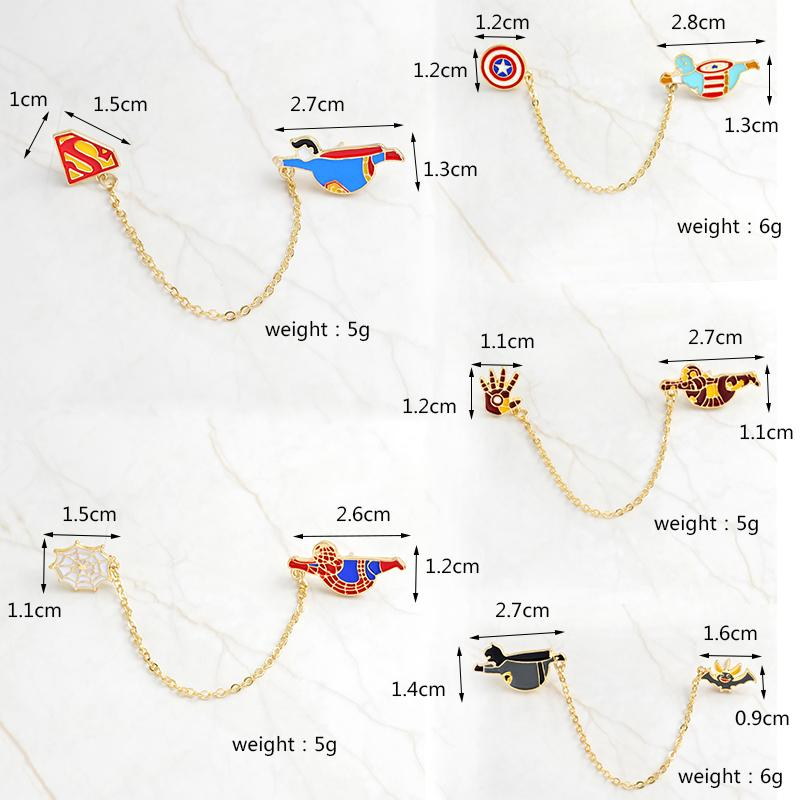 QIHE JEWELRY Broches de super héros Insigne Spiderman Batman Superman Captain America Ironman Marvel DC BD accessoires bijoux
