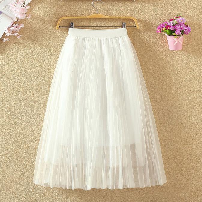 254d53a575 2019 Women Skirts Pleated Tutu Midi Womens Puffy Mesh Petticoat Lolita Skirt  Plus Size Falda Saias Femininas From Carawayo, $33.67 | DHgate.Com
