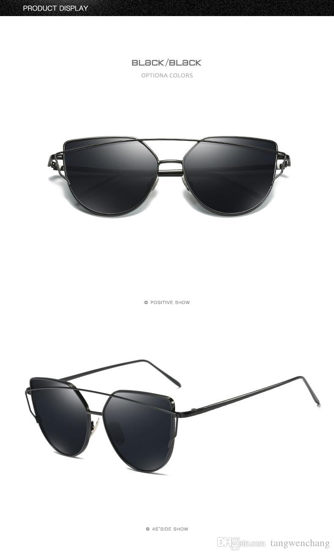 ead364280a8 2018 Cat Eye Vintage Brand Designer Rose Gold Mirror Sunglasses For Women  Metal Reflective Flat Lens Sun Glasses Female Oculos Cheap Eyeglasses  Online ...