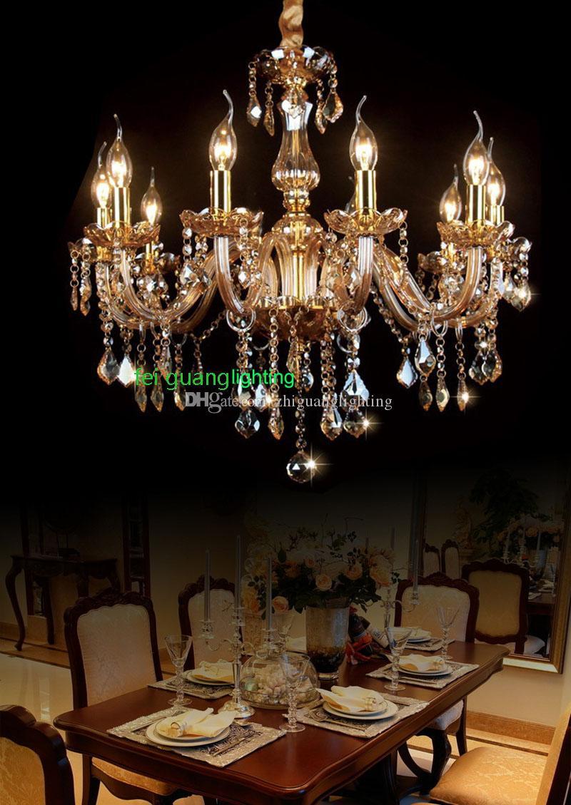 Moda Modern Kristal Avize Yemek Odası Lambası Şamdan Kristal Avizeler Mum Ev için Avrupa Mum Avizeler