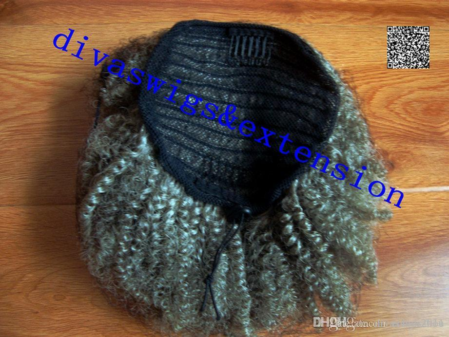 Women Short Afro Curly Clip In Hair Extension Drawstring Ribbon Gray Color Two Tone Gradient Human Hair Ponytails Black Grey Hair Ponytails