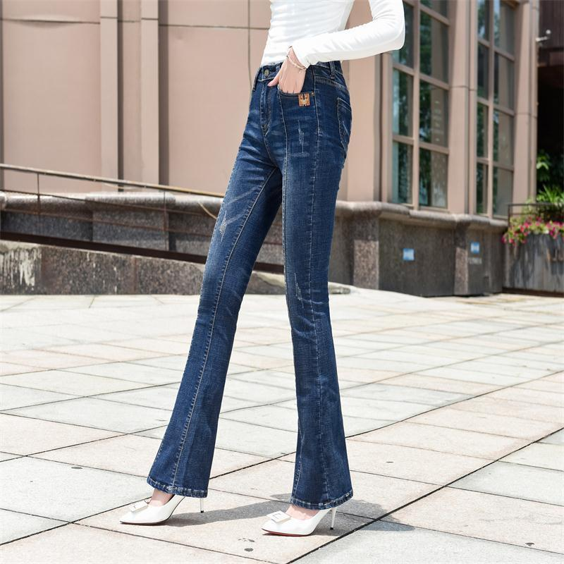 2019 Extra Long Flared Denim Trousers Woman Skinny Bell Bottom Jeans