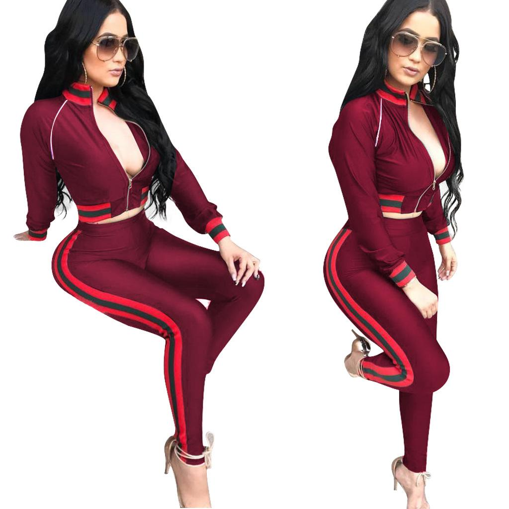fashion sexy piping zipper long sleeve short coat pants two piece sets women plus size spring autumn new sport jacket hoodies trousers suits