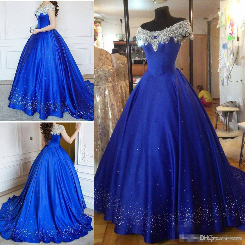 Cinderella Royal Blue Debutante Crystal Prom Formal Dresses 2018 Modest Luxury Beaded Pearls Puffy Skirt Cap Sleeve Evening Masquerade Gown