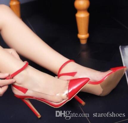 Nueva Primavera 2020 mujeres del talón delgada bombea los zapatos de vestir de estilo sencillo señalaron los zapatos de tacón alto Mujer Soltero zapatos de tacones altos de PVC