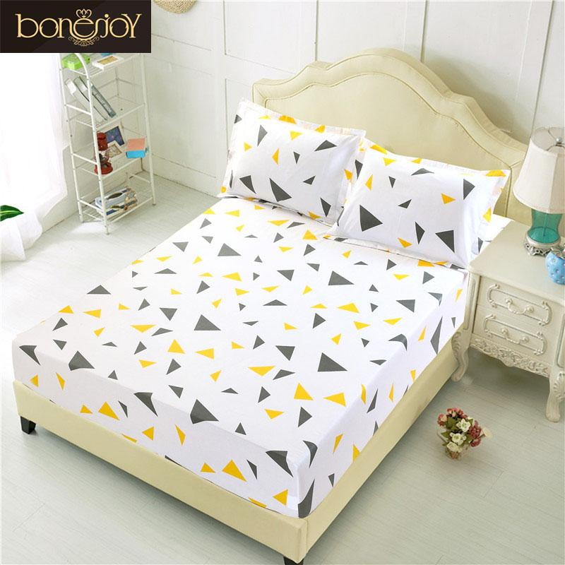 2019 Bonenjoy Bed Sheet With Case Geometric Printed Fitted Sheet