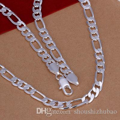 Wholesale Jewelry Flat Three interphase one square Silver Link Chain Male Fashion Charm 8mm Necklace Colar Masculino CHN018