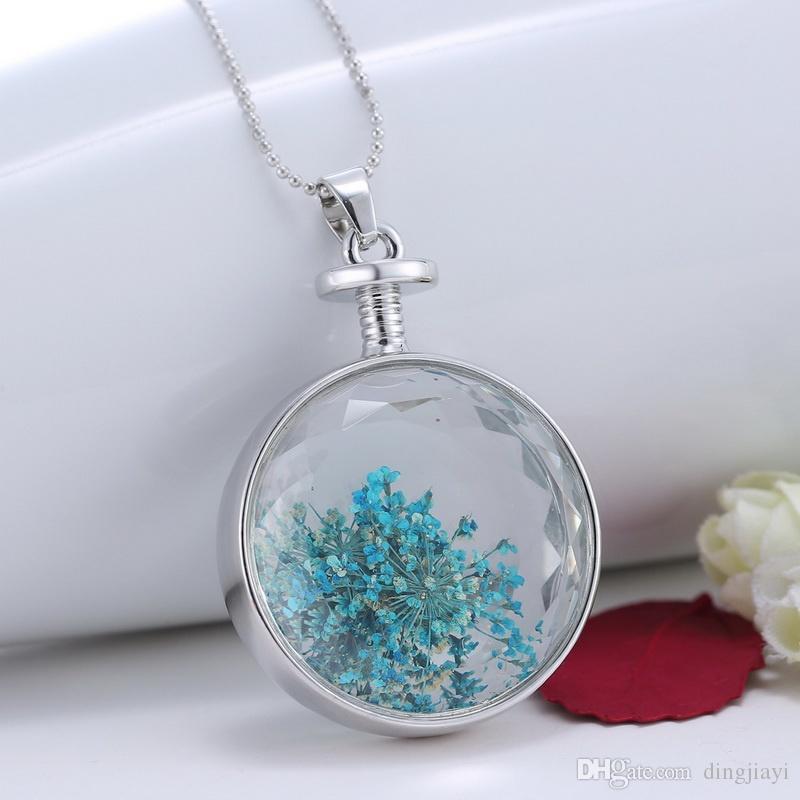 Collares de plata naturales azules de la flor para las mujeres Collar de la flor seca Colgante Fantasy Keepsake Jewelry para las mujeres